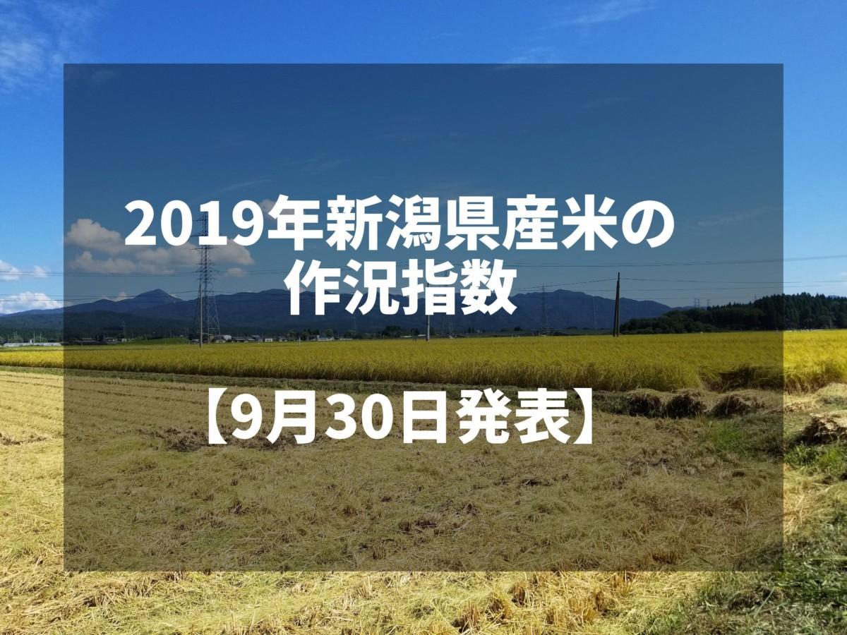 2019年新潟県産米の作況指数が101の「平年並み」に後退【9月30日発表】